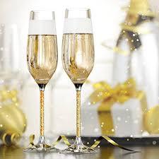 unique champagne flutes. Crystal Champagne Glasses By Vindi Design. Unique Gold Leaf Stem Toasting Flutes. Lead Free Flutes