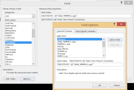 using the insert field dialog box to insert fields