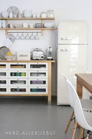 ikea varde drawers and smeg fridge in kitchen