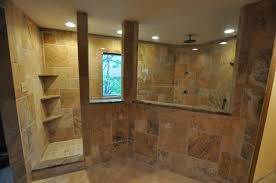 a photo of a natural stone tile shower