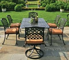 outdoor swivel dining chairs 6 person patio table by luxury cast aluminum furniture set w round