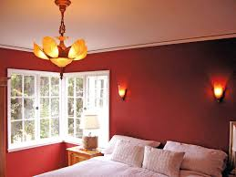 Interesting Paint Ideas Bedroom Cool Red Paint Idea With White Window Frame Orange Brown