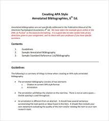 Example Of An Annotated Bibliography In Apa Format 6th Edition