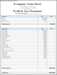 Profit And Loss Statement For Self Employed Template Free Best Profit And Loss Statement Excel Template Chookiesco