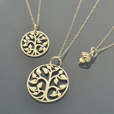 growth acorn med small tree of life charm necklaces