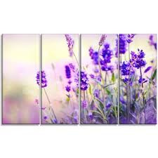 purple lavender field 4 piece wall art on wrapped canvas set on lavender colored wall art with lavender colored wall art wayfair