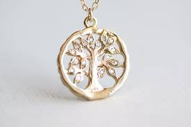 family tree necklace gold oak tree pendant with crystal