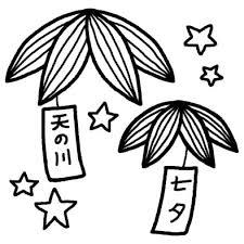 笹飾り1七夕夏の季節7月の行事無料白黒イラスト素材