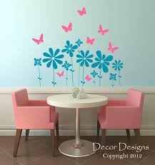Decor Designs Decals Amazing Butterfly Flowers Wall Decal