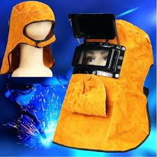 leather welding helmets yellow helmet mask work protection filter lens welder hood bibs leather welding