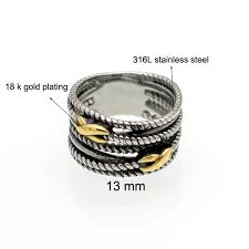 jewelry manufacturer china 316l snless steel metal plated multi tier nail finger ring for men