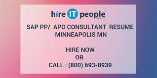 Sap Pp Apo Consultant Resume Minneapolis Mn Hire It People We
