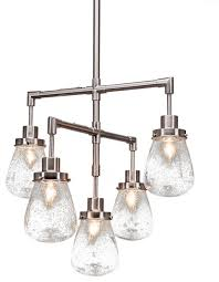 meridian 5 light chandelier brushed nickel finish 5 clear bubble glass transitional chandeliers by toltec lighting