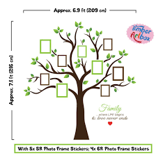 famiy tree amazon com timber artbox large family tree photo frames wall decal