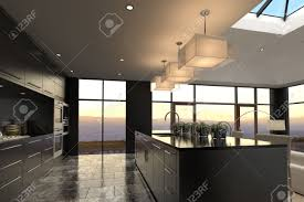 Modern Luxury Kitchen Designs 3d Rendering Of Modern Luxury Kitchen Interior Stock Photo