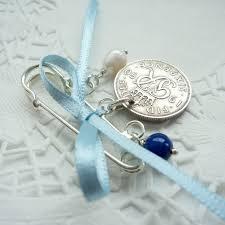 silver sixpence wedding pin bridal gift something old