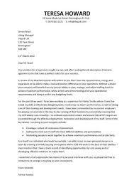 Cover Letter Samples For Supervisor Position