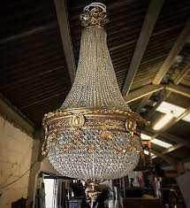 stunning vintage french crystal gilt bronze empire antique chandelier