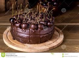 Chocolate Cake Decorated With Cherries With Chocolate Horizontal