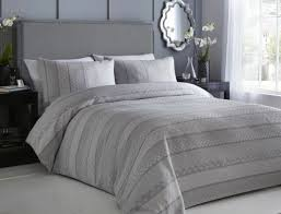 jacquard textured geometric stripe grey white king size duvet cover