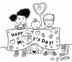 There are so many colorful, outstanding pictures to color! Cute Kids And Happy Mother S Day Coloring Page For Kids Coloring Pages Printables Fre Mothers Day Coloring Pages Happy Mothers Day Mothers Day Coloring Sheets