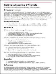 marketing and sales cv field sales executive cv sample myperfectcv
