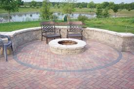Backyard Fire Pit Landscaping Outdoor Patio Raised Stone Chair Dinner Set  Irregular Fond Natural Plant Surrounded