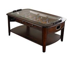 ... Coffee Table, Breathtaking Brown Rectangle Modern Wood Foosball Coffee  Table With Storage And Glass Top ...