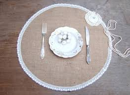 wedding burlap placemat round table setting circular dinner placemat burlap and white lace overlay country table mat rustic chic decor 5 11 usd