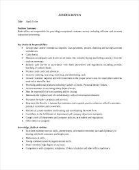 Resume For Bank Teller Position Free Resume Templates 2018