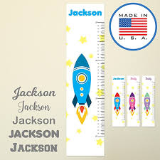 Wallclipz Personalized Growth Chart Cartoon Rocket Fabric