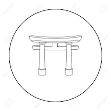 アウトライン スタイルの白い背景で隔離の鳥居アイコン宗教シンボル株式ベクトル イラスト
