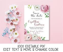 Romantic Date Invitation Template Peony Save The Date Invitation Pink Blush Save The Date Card Floral