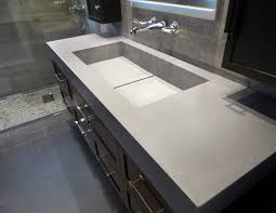 adorable rectangle undermount trough bathroom sink with wooden floating vanity cabinet added drawers storage also grey marble wall tiled as decorate