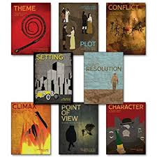 elements of a novel laminated educational poster series eco friendly english literature art