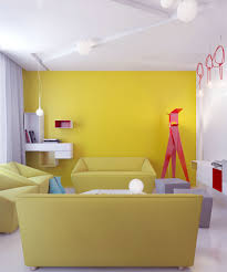Yellow Living Room Modern Ceiling Paint Color With Yellow Walls And White Curtains