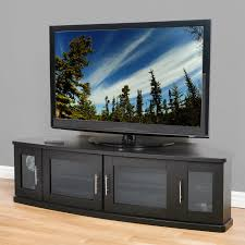 Large Black Tv Stand Large Corner Tv Cabinet With 4 Glass Doors And Silver Handle