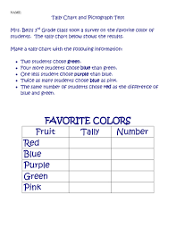 Tally Chart Worksheet Colors Printable Coloring Pages For Kids