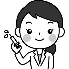注射器を持った女性医師医者の白黒モノクロイラスト かわいい