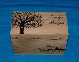 Decorative Recipe Box Decorative Wood Burned Wedding Recipe Card Box Rustic Wooden 70