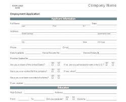 Standard Job Application Form Template Free Printable Job