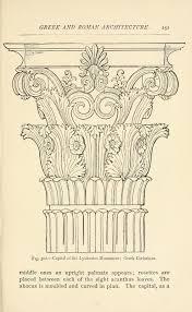 Greek Corinthian Column Capital Illustration Historic Ornament