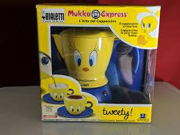 bialetti tweety bird mukka express stove top 2 cup cappuccino maker yellow bluee