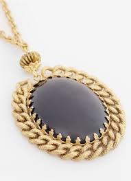 lyst ela stone pendant necklace in metallic
