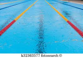 swimming pool floating wave breaking lane line empty swimming pool and rain