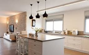 Elegant Kitchen Area With Unusual Style Black Hanging Kitchens Pendant  Lights, Brown Concrete Countertop Design, And Wooden White Painted Houston  Pub High ...