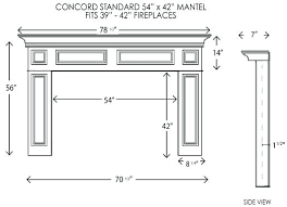 concord fireplace mantel standard sizes dimensions wood pillarantles