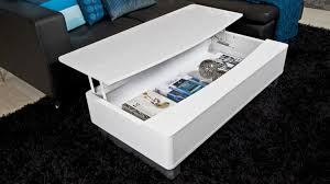 modern white gloss coffee table with large storage space white