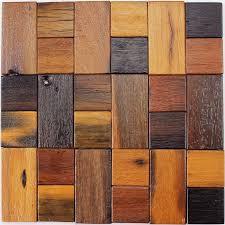 12x12 natural Rustic wood mosaic tile wood kitchen backsplash