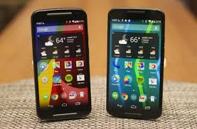 motorola android. the 2014 moto g (left) and x (right) will get android 5.0, along with many other motorola phones.